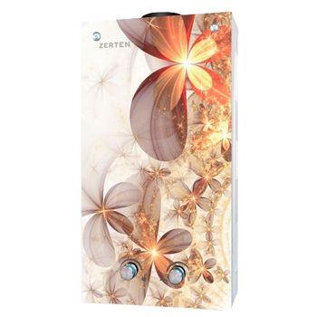 Газовая колонка Zerten Glass L-20 бежевые цветы с дисплеем фото